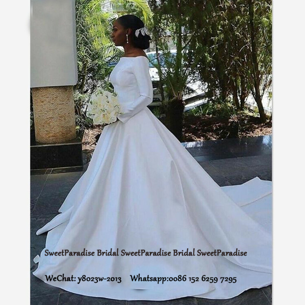 White Satin Long Sleeves Wedding Dress For Women Boat Neck A Line Robe De Mariee Bridal Dresses Formal Gown