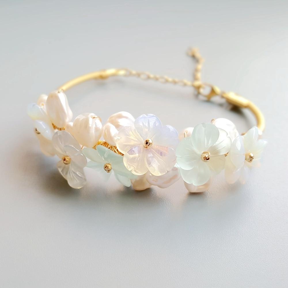 Lii Ji cristal bleu opale fleurs en cristal Baroque perle d'eau douce Bracelet Bracelet bijoux faits à la main Bracelet ouvert pour les femmes cadeau