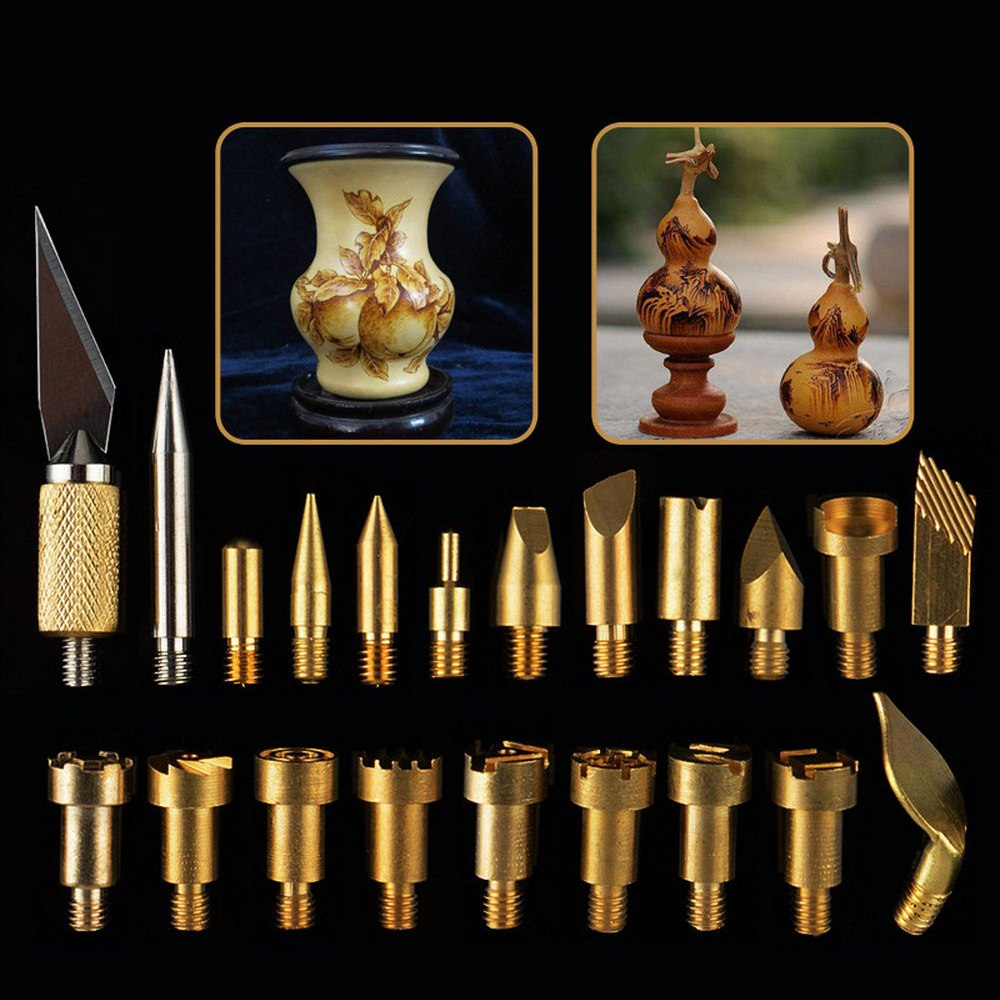 22pcs/set Wood Burning Pen Tip Stencil Soldering Iron Pyrography Working Carving Tool Kit For DIY Hobby Craft Carving Burner
