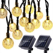 30 leds bola de cristal luz solar ao ar livre ip65 à prova dwaterproof corda água fadas lâmpadas solares jardim grinaldas ornamentais