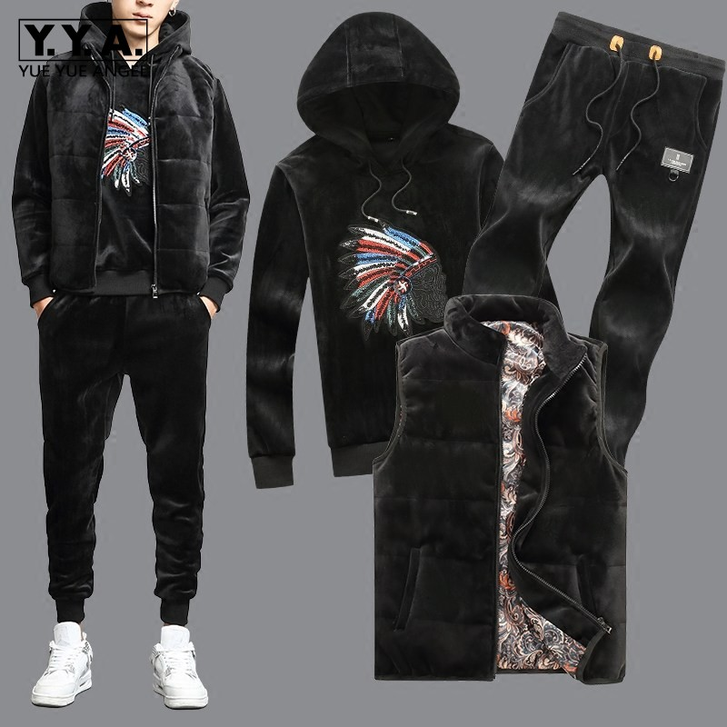 High Quality Mens Winter Velvet 3pcs Set Fashion Embroidery Vest Jacket Tracksuit Hoody Thick Warm Casual Suit Matching Sets 4XL