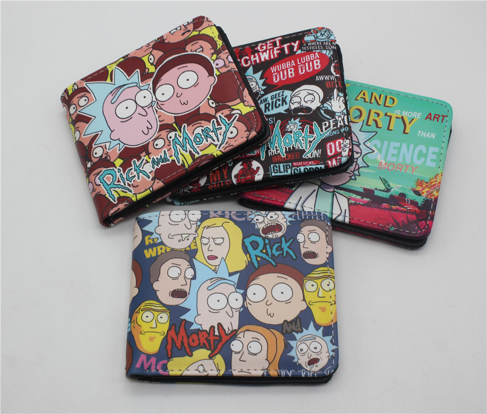 Anime Rick And Morty Rick Bi-Fold Wallet Credit Card Holder Purse Pickle Rick Cartoon Handbag Gift