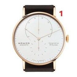 Hot sprzedaży męska zegarek kwarcowy dwie igły pół zegarek ze stali nierdzewnej zegarek ze stali nierdzewnej Nomos 2 na