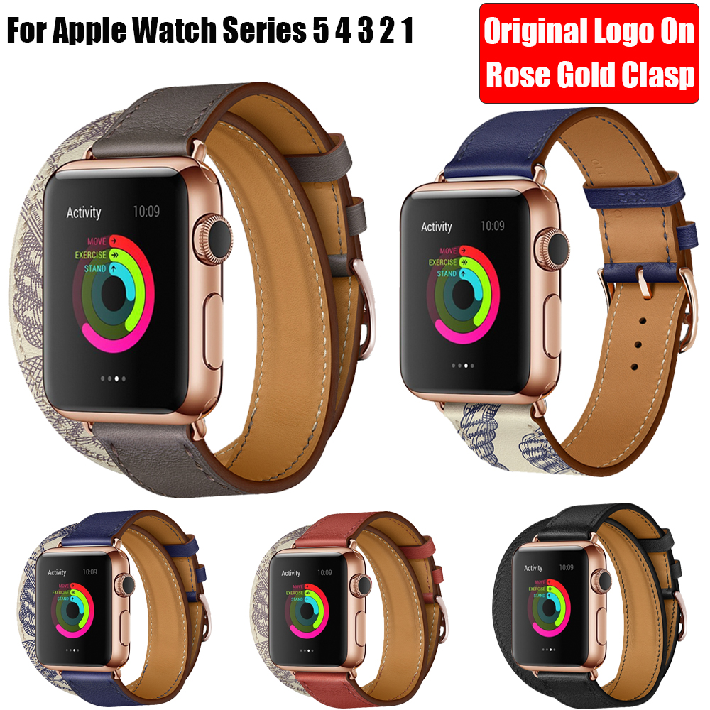 Herm Logo Rose Gold Swift Leather Double/Single Tour Strap for <font><b>Apple</b></font> <font><b>Watch</b></font> 5 4 <font><b>3</b></font> 2 1 44MM 40MM <font><b>42MM</b></font> 38MM <font><b>Watch</b></font> Band for iWatch image