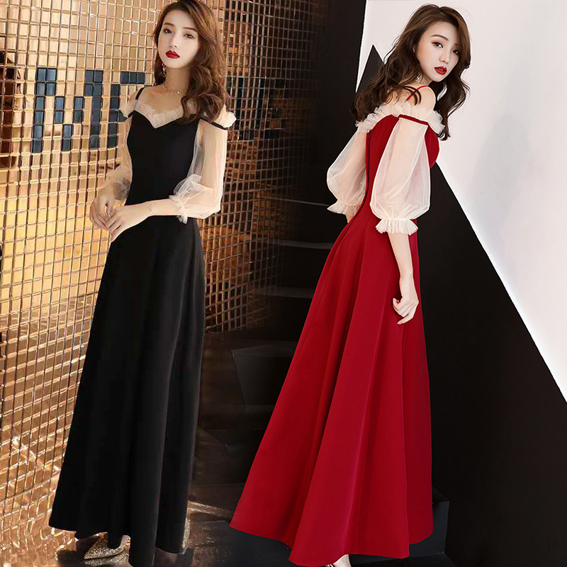 Vintage Red Bridesmaids Dresses Junior Boat Neck Elegant Women For Wedding Party Host Dress Sexy Prom Azulroyal Vestido Mujer
