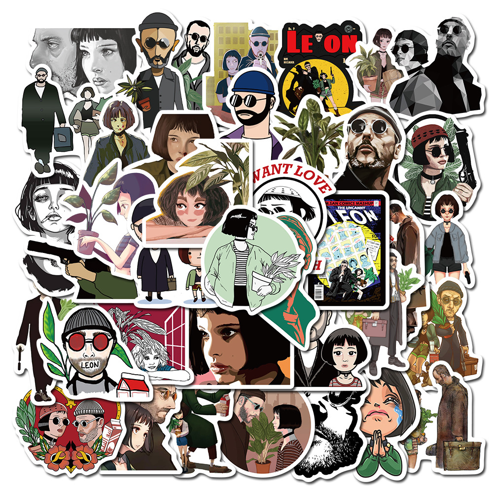 50PCS Movie Killer Leon Stickers Pack for Laptop PC Guitar Skateboard Suitcase Motorcycle Graffiti Cool Sticker