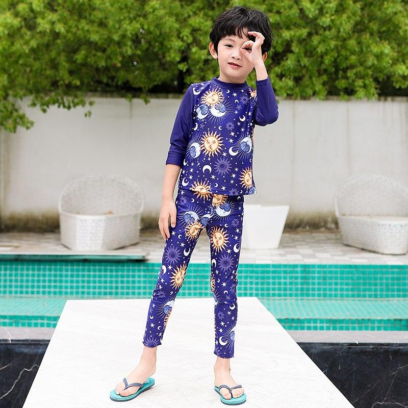 New Style South Korea KID'S Swimwear Male Baby Split Type Long Coat Trousers Fashion-Star Medium-small BOY'S Students Tour Bathi