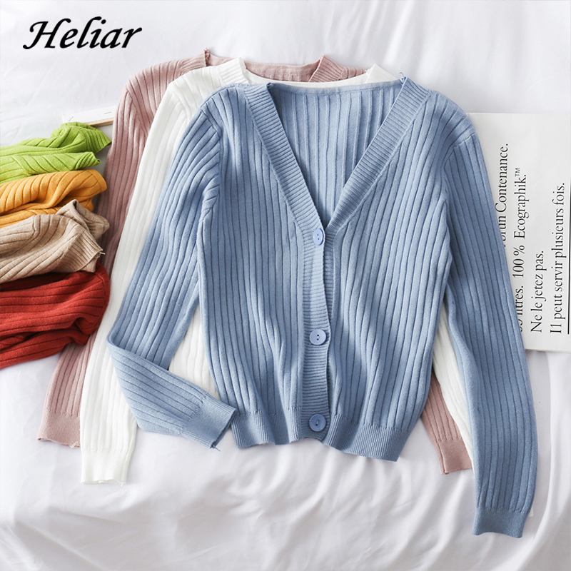 Heliar Women Fashion Autumn Cardigans Solid Plain Cardigans V-Neck Long Sleeve  Sweater Women Buttoned Up Sweater For Women