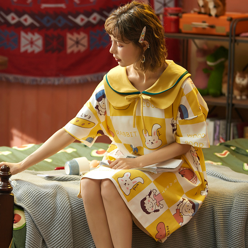 2020 New Spring Summer Nightdress Lovely Women's Sleepwear Soft Cotton Casual Home Wear Cartoon Ladies Nightwear Big Size Pijama 15