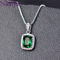 Квадратная ААА подвеска с цирконием ожерелье Изумрудный зеленый розовый Saphhire синий фиолетовый талисманы изящное подвесное ожерелье Jeweley