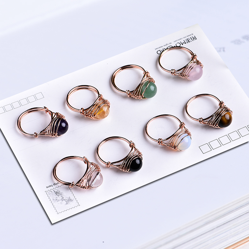 1PC Lovely fashion natural crystal ring rose quartz amethyst jewelry quartz crystal party jewelry DIY gift couple jewelry
