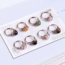 1pc adorável moda anel de cristal natural rosa quartzo ametista jóias de cristal de quartzo festa jóias diy presente casal jóias