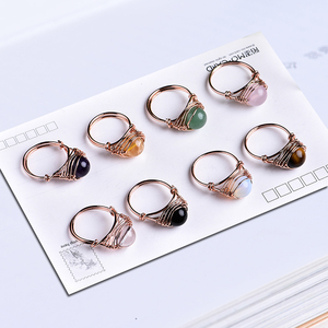 1PC Lovely fashion natural crystal ring rose quartz amethyst jewelry quartz crystal party jewelry DIY gift couple jewelry(China)