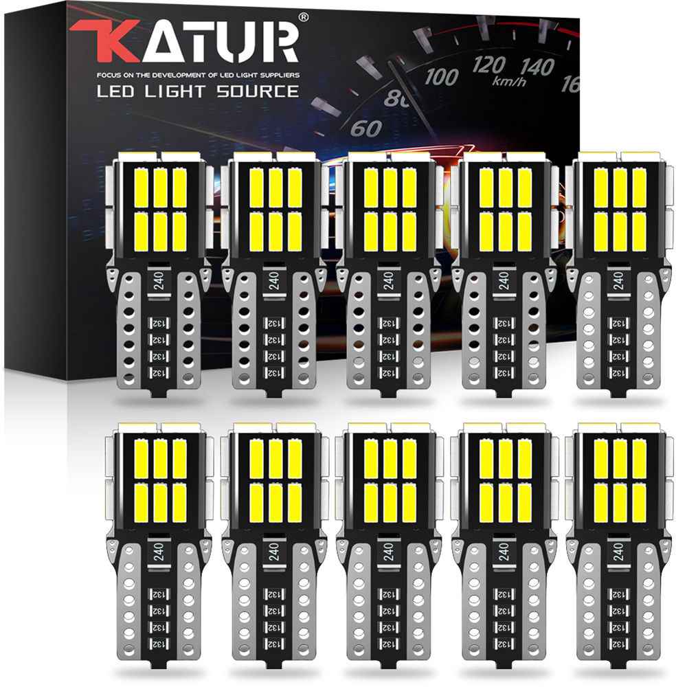 Katur 10pcs W5W T10 LED Canbus Bulb For Peugeot 206 406 508 307 308 406 3008 Accessories Car Interior Dome Lamp Reading Lights
