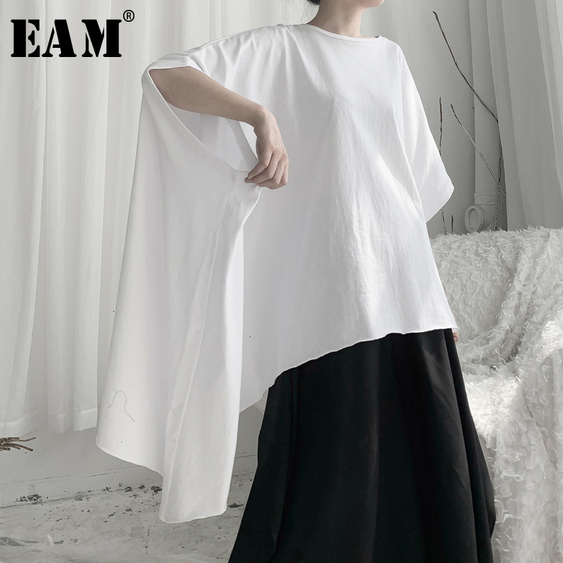 [EAM] Women White Asymmetrical Big Size Oversized T-shirt New Round Neck Half Sleeve  Fashion Tide  Spring Autumn 2020 19A-a644