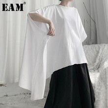 [Eam] 女性白非対称のビッグサイズ特大tシャツ新ラウンドネック半袖ファッションタイド春秋2020 19A a644