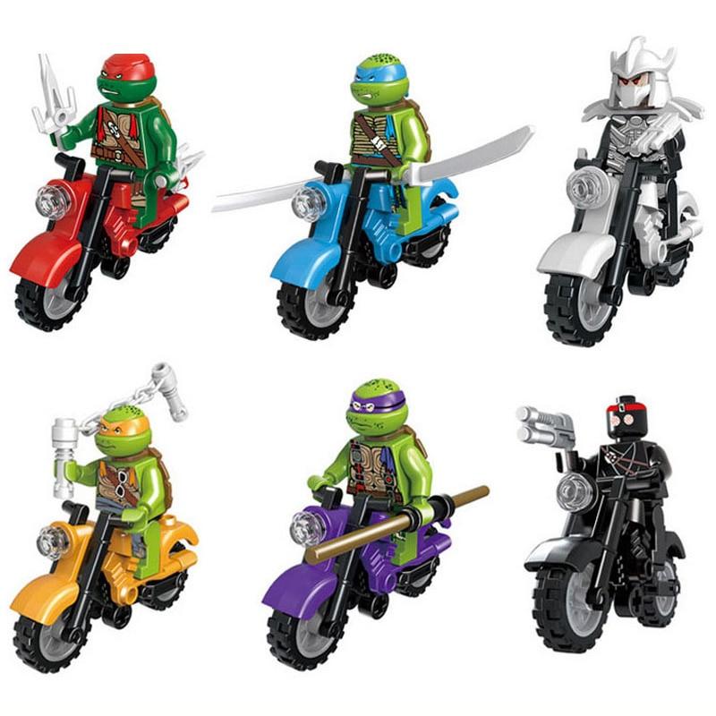 6Sets Turtles Leonardo Raphael Michelangelo Donatello With Motorcycle Figure Blocks Construction Gift Bricks Toys For Children