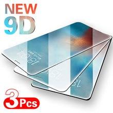 Vidrio protector de cubierta completa para iPhone SE 6 6s 7 8 Plus, película de cristal templado para iPhone X XS XR 11 11 Pro Max, vidrio de pantalla 3 piezas