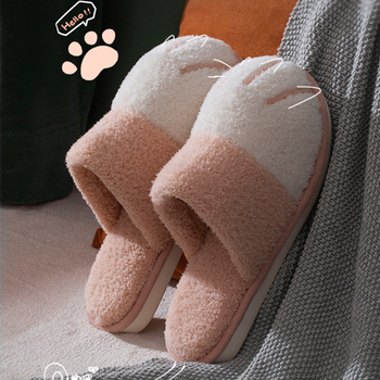 Dom zimowy ciepłe futrzane kapcie dla kobiet słodki kociak łapa projektant sypialnia ciepłe zamszowe buty antypoślizgowe kryty kobiety futrzane kapcie tanie i dobre opinie BEVERGREEN Futro CN (pochodzenie) Niska (1 cm-3 cm) Pasuje prawda na wymiar weź swój normalny rozmiar Krótki pluszowe