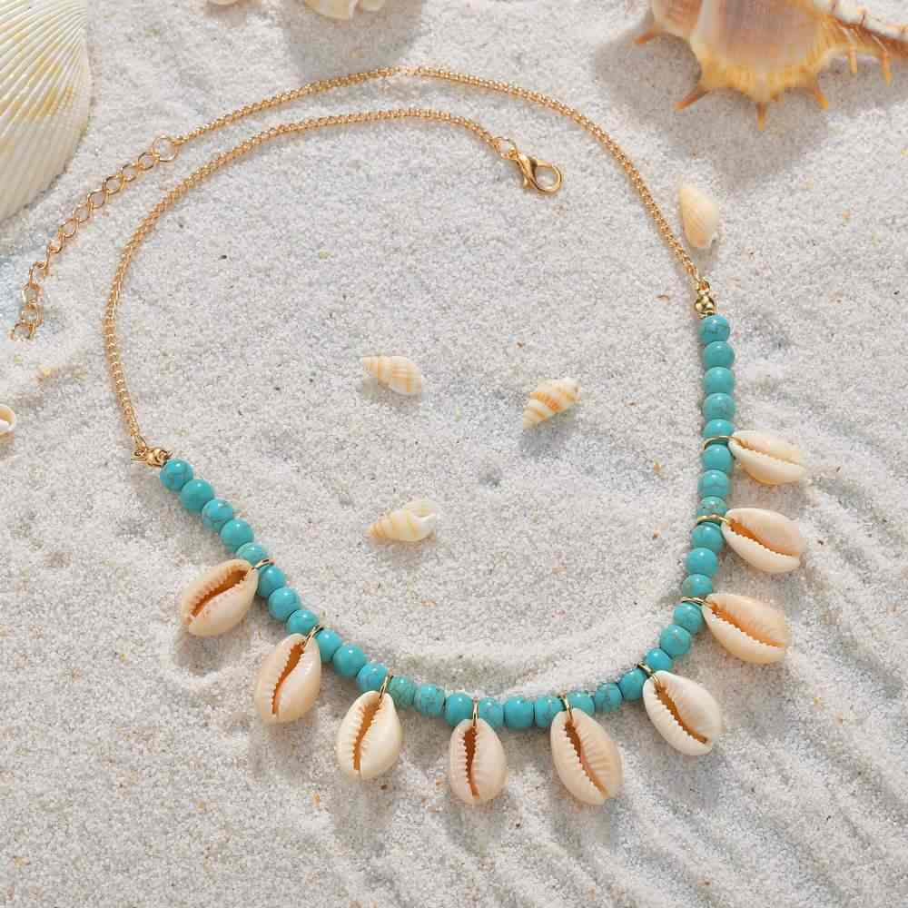 Bohemia Shell Statement Necklace For Women Beaded Chokers Necklaces Female Fashion Boho Jewerly Africa Style Seashell Necklace