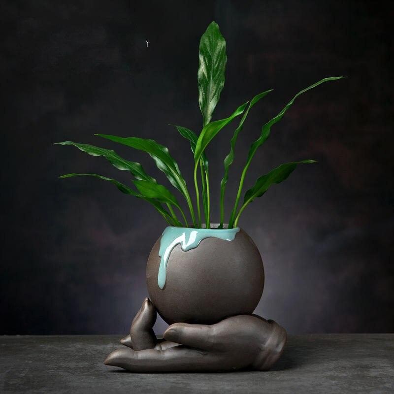 Ceramic Succulent Flowerpot Desktop Handicrafts Decoration Ornaments Creative Hydroponic Flowerpot Vase Home Garden Just6F