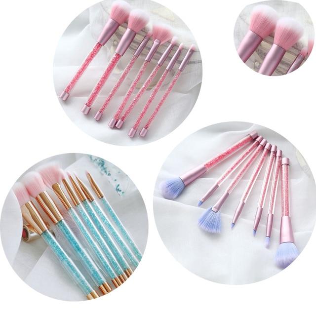 7 makyaj fırçası seti Glitter elmas kristal tutacak makyaj fırçalar pudra fondöten kaş yüz makyaj fırçası CosmeticTool