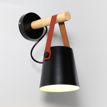 Coquimbo LED Solid Wood Wall Lamp E27 85-265V Home Decoration Living Room Bedside Nordic Wooden Belt LED Wall Light(China)