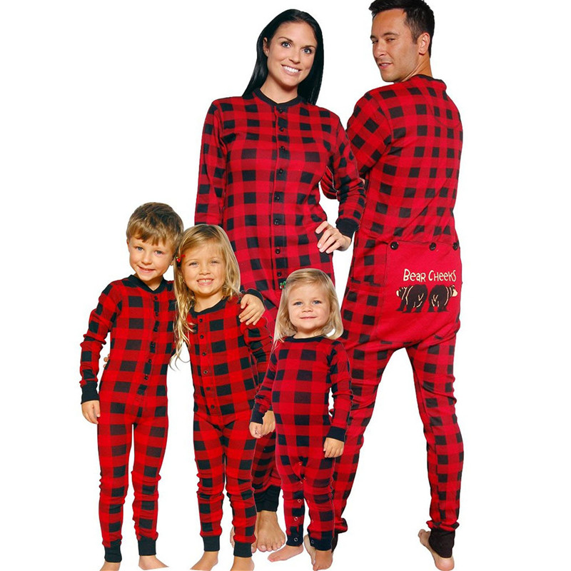 Christmas Family Pajamas Matching Outfits Romper Jumpsuit Women Men Baby Kids Xmas Father Mommy And Daughter Matching Clothes