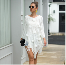 Women's sweater Cape 2020 new spring and autumn winter new women's fashion tassel shawl wool ball solid color sweater