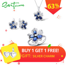 SANTUZZA Silver Flower Jewelry Set Bridal Wedding Blue CZ Stones Ring Earrings Pendant Set 925 Sterling Silver Fashion Jewelry(China)