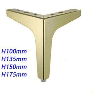 Image 1 - 4pcs Ferramenteria e attrezzi Mobili In Metallo Gambe Quadrato In Legno Cabinet Gambe del Tavolo Oro per Divano Piede Piedi Letto Riser accessori per mobili