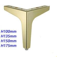 Accessoires dameublement en métal, 4 pièces, meuble carré, pieds de Table en bois et dorés pour canapé, pieds et lit, meuble