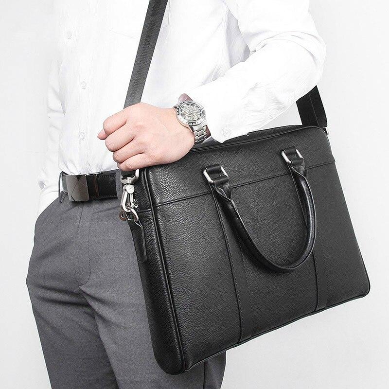 Men Business Briefcases Messenger Bag Vintage Genuine Leather Shoulder Leather Laptop Bag Black Maletines Hombre Cuero