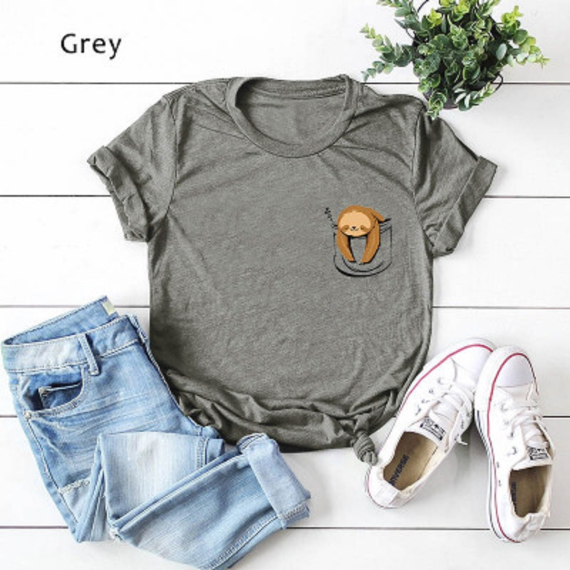 Sloth and Cat Womens Tee Shirts Long Sleeve Cotton Womens Tops