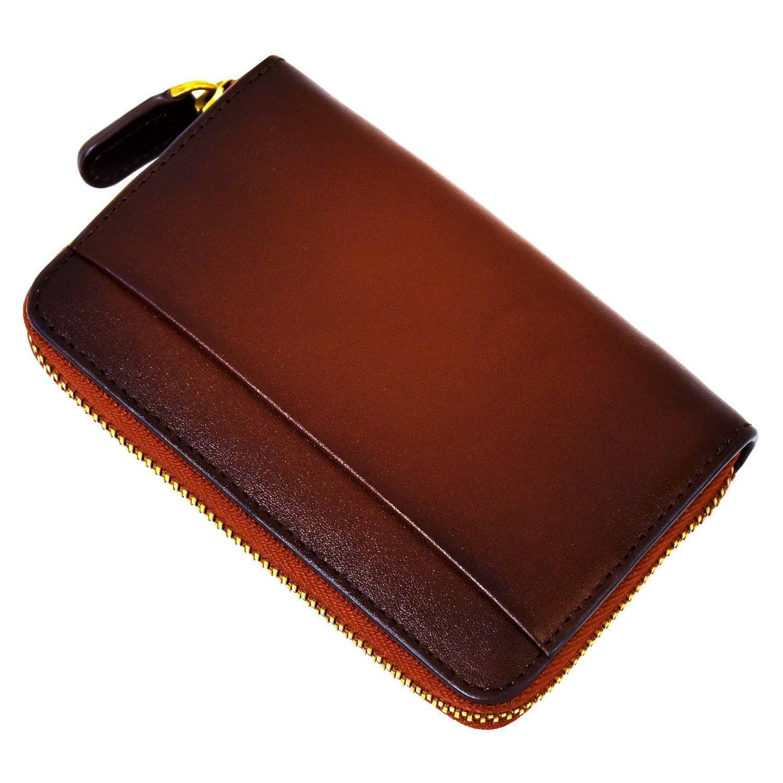 Japanese Style Genuine Leather Zip Coin Purse Tree Paste Cowhide Double Color Wallet Men's Women's Retro Universal Coin Purse