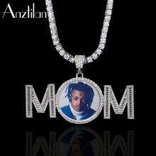 Anztilam hip hop feito sob encomenda foto pingente nome personalizado colar pavimentado zircão pedra das mulheres dos homens diy jóias por atacado