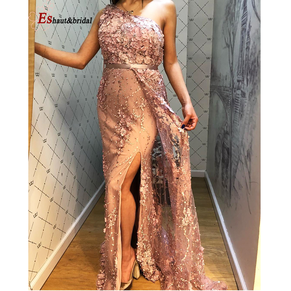 Silver Handmade Flowers Pearls Evening DressOne-Shoulder Sexy Luxury Formal  Gowns 2019