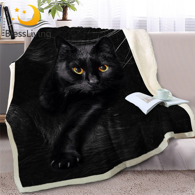 BlessLiving Black Cat Throw Blanket on Sofa 3D Animal Plush Sherpa Blanket Lovely Pet Bedspreads Fur Print Thin Quilt 150x200cm