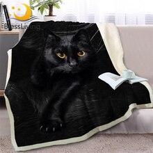 BlessLiving siyah kedi atmak battaniye kanepe 3D hayvan peluş Sherpa battaniye güzel Pet yatak örtüleri kürk baskı ince yorgan 150x200cm