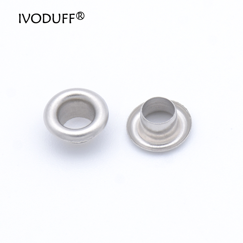 Ivoduff 8X4X4MM Metal Eyelet 100sets 4mm Brass Eyelet with Washer Leather Craft Repair Grommet Round Eye Rings For Shoes Bag