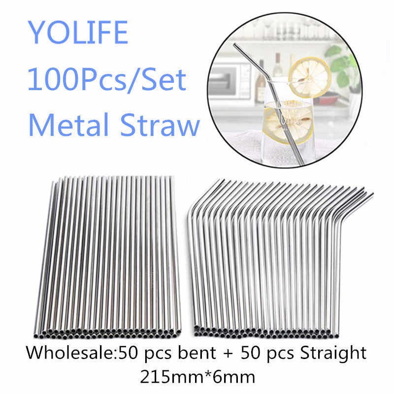 Eco friendly Reusable Stainless Steel Straws Brush Bent Drinking Straw Wholesale