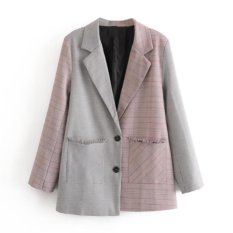 Stylish Patchwork Tassel Suit Blazer Women Long Sleeve Pockets Office Wear Blazers Coat Female Outerwear Chic Streetwear