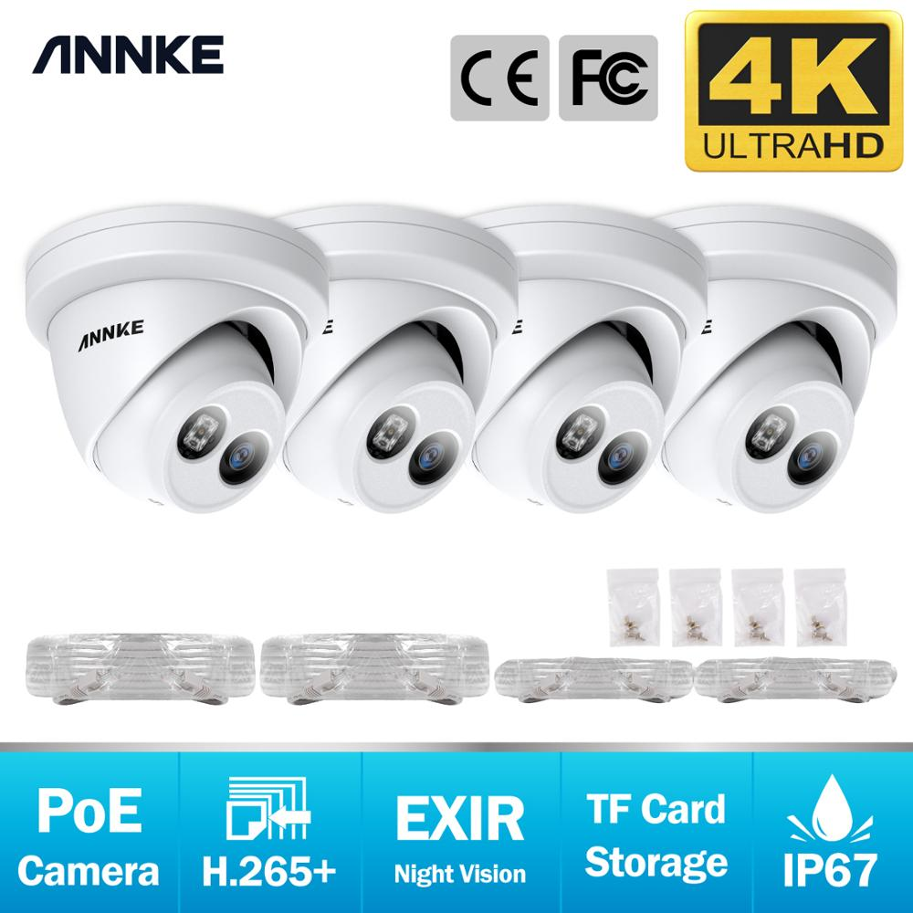 ANNKE 4PCS 4K Ultra HD POE IP Security Cameras 8MP Outdoor Indoor Waterproof Network Dome EXIR Night Vision Email Alert CCTV Kit