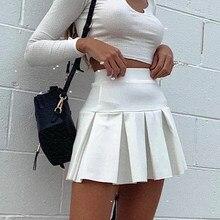 Outono e inverno saia casual para mulher 2020 novo elástico de cintura alta saia plissada cor sólida all-match plissado mini saia