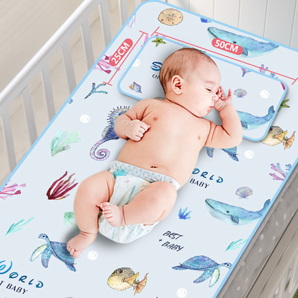 Newborn Waterproof Diaper Pad Summer Washable Ice Silk Large Baby Mattress Breathable Cartoon Print Pad Mat Set With Pillow J71