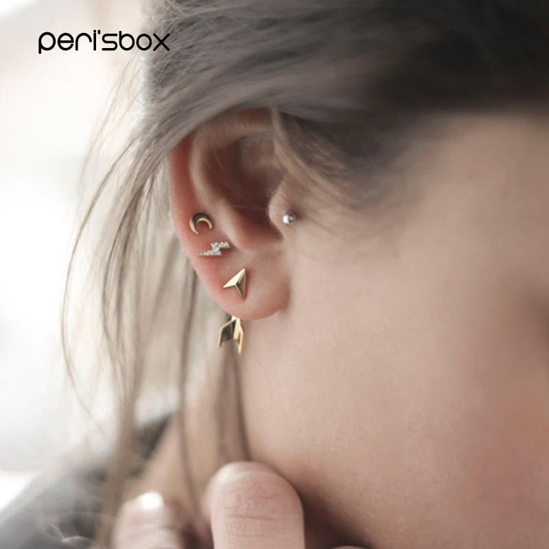 Peri'sBox Geometric Lightning Mini Earrings 925 Sterling Silver Stud Earrings Cubic Zircon Minimalist Earrings for Women Shining