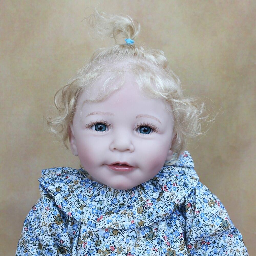 55 см мягкие силиконовые Reborn Baby Doll корнями светлые волосы девушки куклы игрушки, реалистичные ткань средства ухода за кожей реалистичные 22 дюймов принцессы для детей ясельного возраста Куклы      АлиЭкспресс