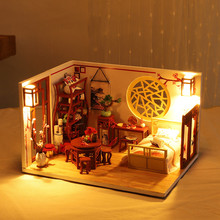 3D Wooden DIY Miniature House Furniture LED House Puzzle Decorate Creative Dollhouse Fidjet Toys For Children Birthday Gifts