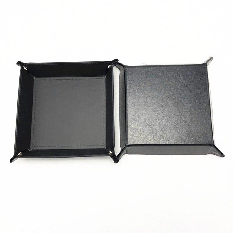 Складная коробка для хранения из искусственной кожи, квадратный поднос для настольной игры в кости, кошелек для ключей, коробка для монет, поднос, настольная коробка для хранения, лотки, Декор - Цвет: A-5