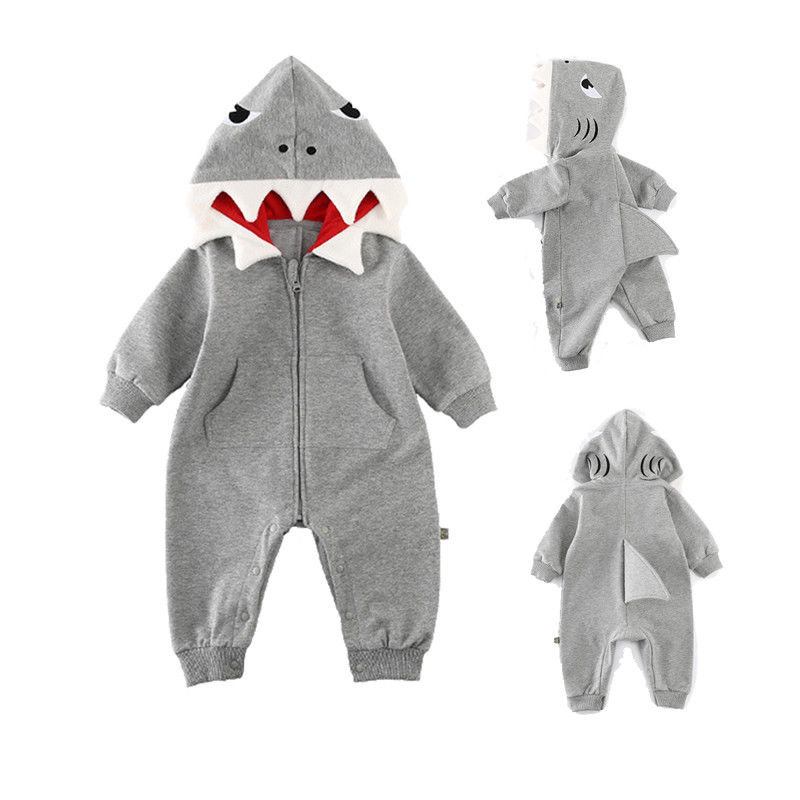 0-24M Newborn Baby Boys Girls Shark Long Sleeve Romper Hooded Playsuit Spring Autumn Baby Kids Outfits Costume
